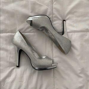 Silver Glitter Peep Toe Heels